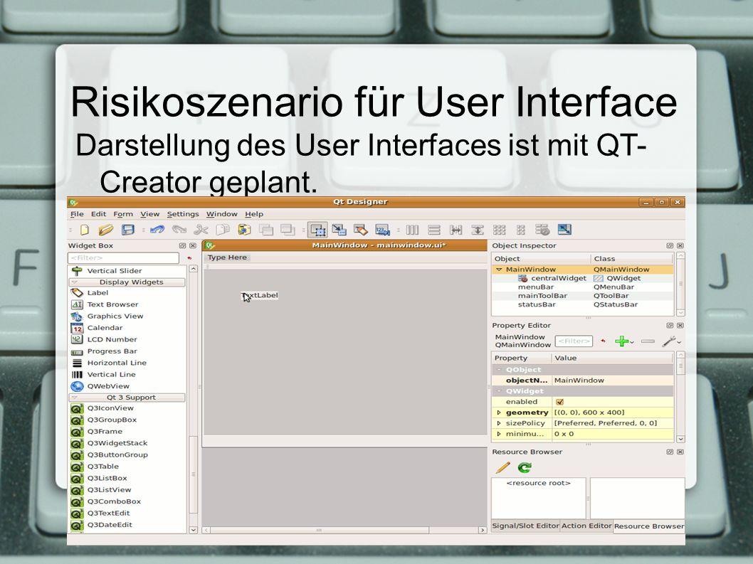 Risikoszenario für User Interface Darstellung des User Interfaces ist mit QT- Creator geplant.