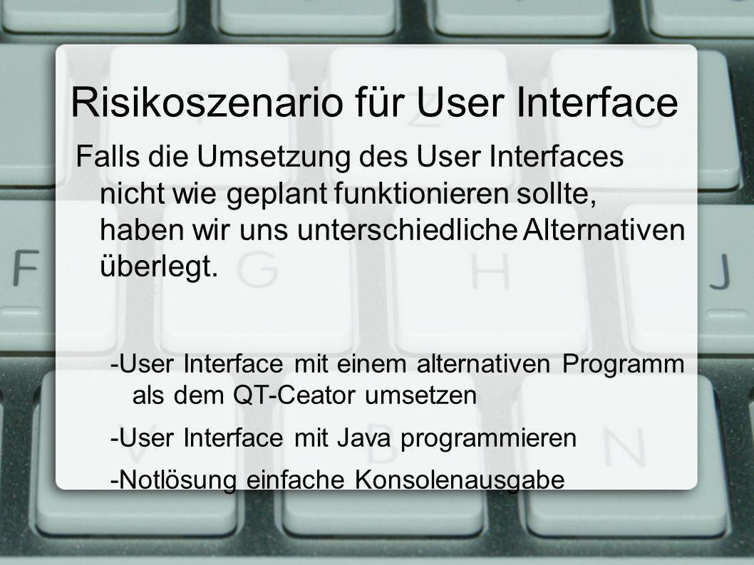 Falls die Umsetzung des User Interfaces nicht wie geplant funktionieren sollte, haben wir uns unterschiedliche Alternativen überlegt.