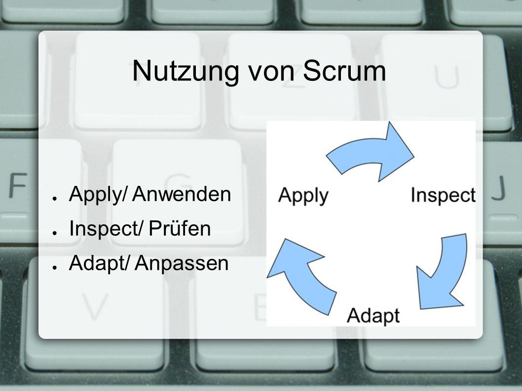 Nutzung von Scrum ● Apply/ Anwenden ● Inspect/ Prüfen ● Adapt/ Anpassen