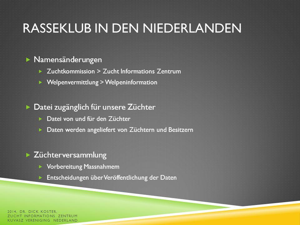 Jeanette de Jong Lid1.fic@kuvaszvereniging.nl Dick Koster FIC@kuvaszvereniging.nl 2014, DR.