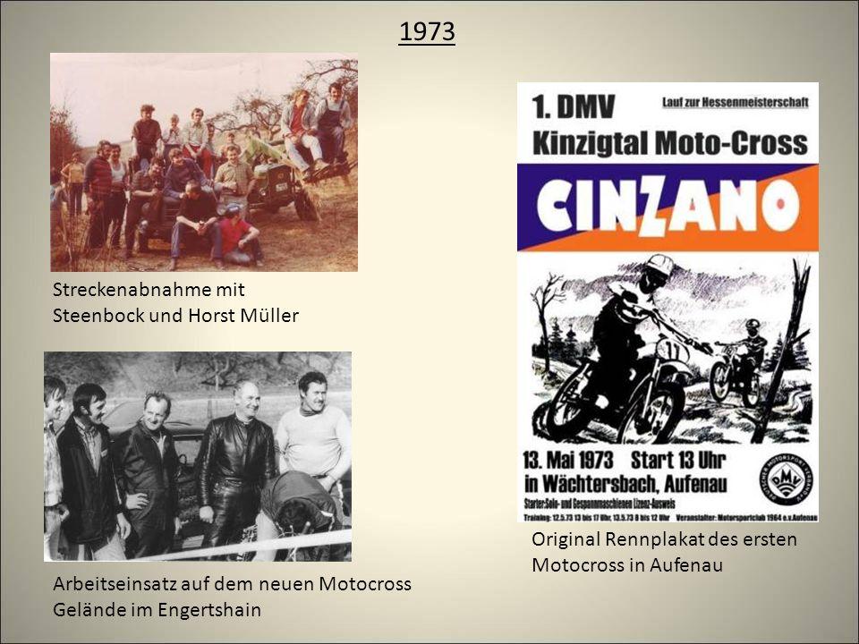 1973 Original Rennplakat des ersten Motocross in Aufenau Arbeitseinsatz auf dem neuen Motocross Gelände im Engertshain Streckenabnahme mit Steenbock und Horst Müller