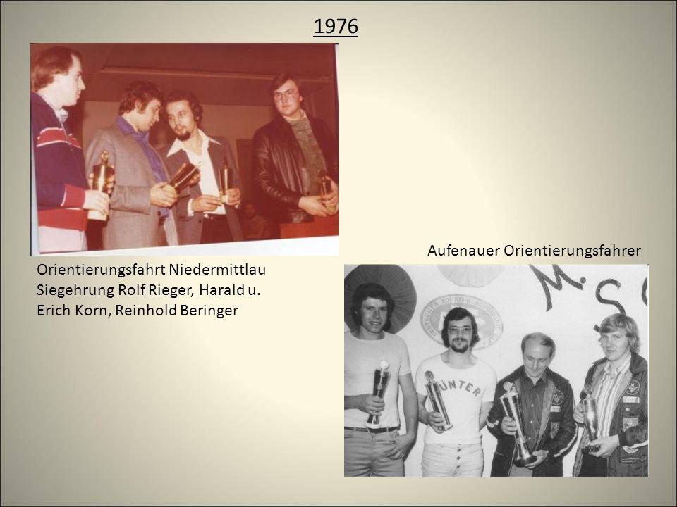 1976 Orientierungsfahrt Niedermittlau Siegehrung Rolf Rieger, Harald u.