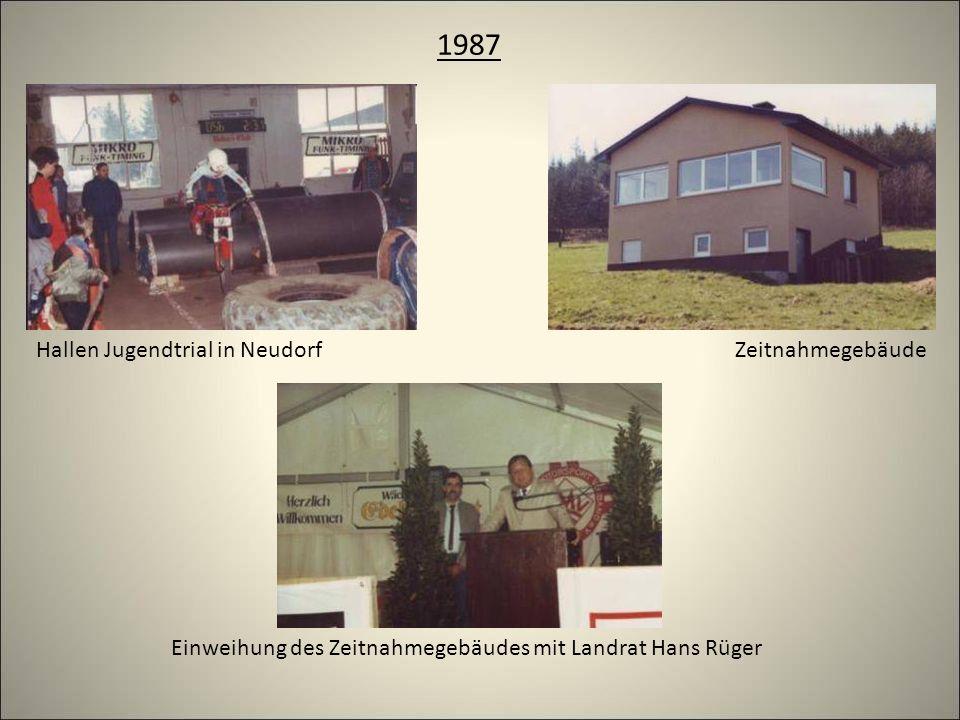 1987 Hallen Jugendtrial in Neudorf Einweihung des Zeitnahmegebäudes mit Landrat Hans Rüger Zeitnahmegebäude