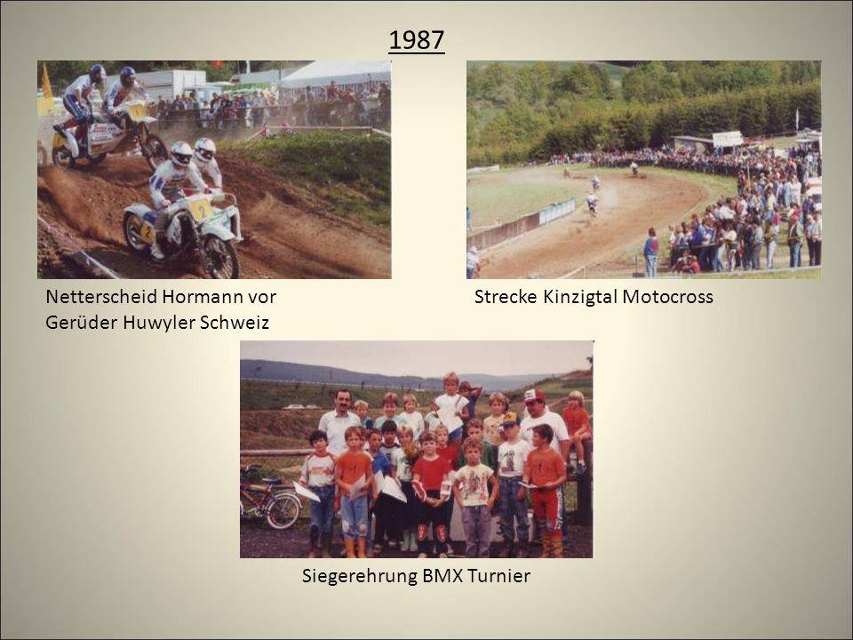 1987 Strecke Kinzigtal Motocross Netterscheid Hormann vor Gerüder Huwyler Schweiz Siegerehrung BMX Turnier