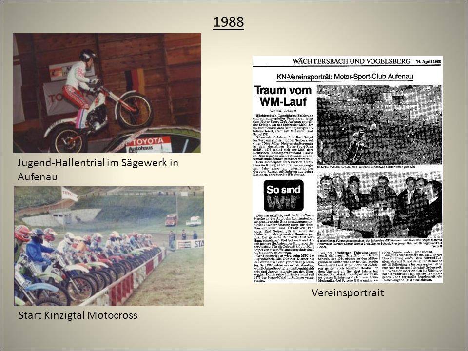 1988 Jugend-Hallentrial im Sägewerk in Aufenau Start Kinzigtal Motocross Vereinsportrait