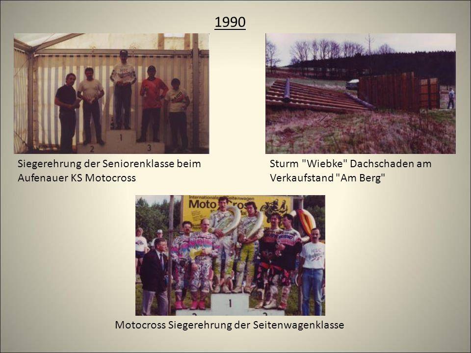 1990 Sturm Wiebke Dachschaden am Verkaufstand Am Berg Motocross Siegerehrung der Seitenwagenklasse Siegerehrung der Seniorenklasse beim Aufenauer KS Motocross