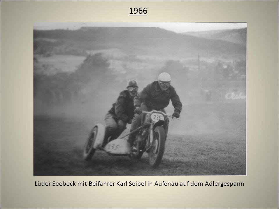 Lüder Seebeck mit Beifahrer Karl Seipel in Aufenau auf dem Adlergespann 1966