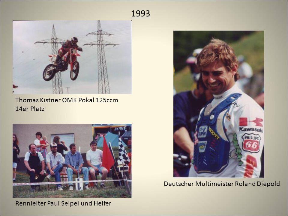 1993 Thomas Kistner OMK Pokal 125ccm 14er Platz Rennleiter Paul Seipel und Helfer Deutscher Multimeister Roland Diepold