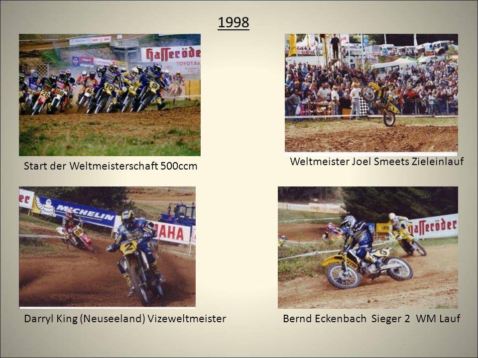1998 Start der Weltmeisterschaft 500ccm Darryl King (Neuseeland) VizeweltmeisterBernd Eckenbach Sieger 2 WM Lauf Weltmeister Joel Smeets Zieleinlauf