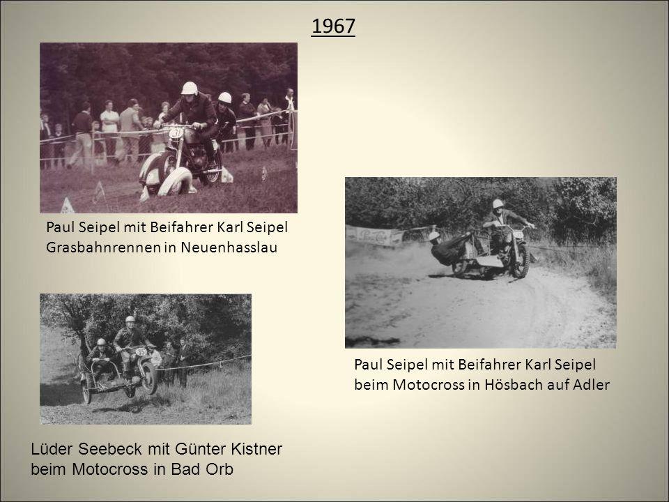 1967 Paul Seipel mit Beifahrer Karl Seipel Grasbahnrennen in Neuenhasslau Paul Seipel mit Beifahrer Karl Seipel beim Motocross in Hösbach auf Adler Lüder Seebeck mit Günter Kistner beim Motocross in Bad Orb