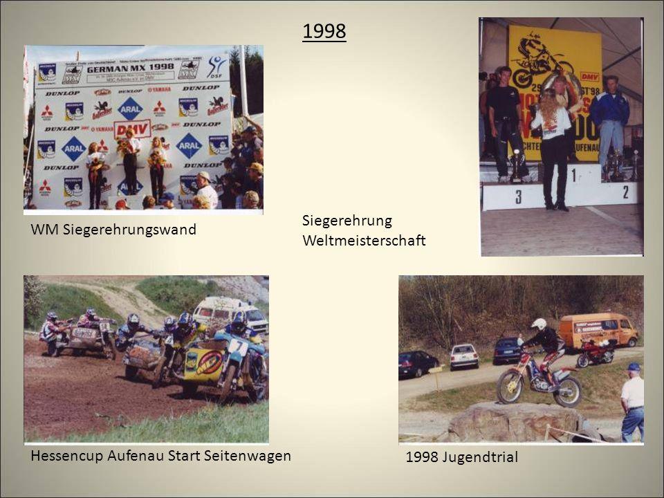 1998 WM Siegerehrungswand Siegerehrung Weltmeisterschaft Hessencup Aufenau Start Seitenwagen 1998 Jugendtrial