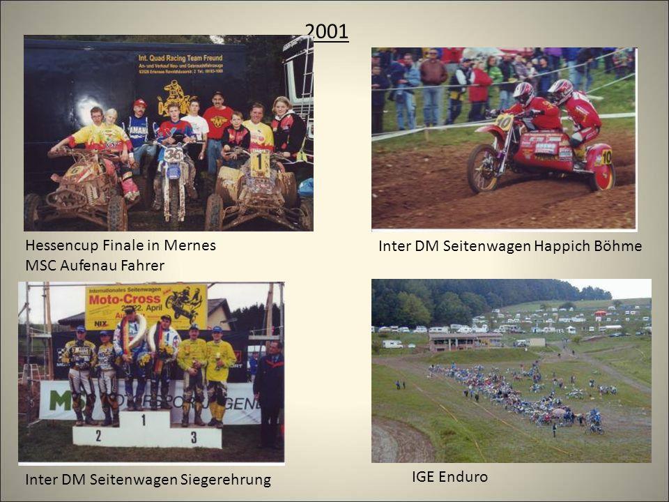 2001 Inter DM Seitenwagen Happich Böhme Inter DM Seitenwagen Siegerehrung IGE Enduro Hessencup Finale in Mernes MSC Aufenau Fahrer