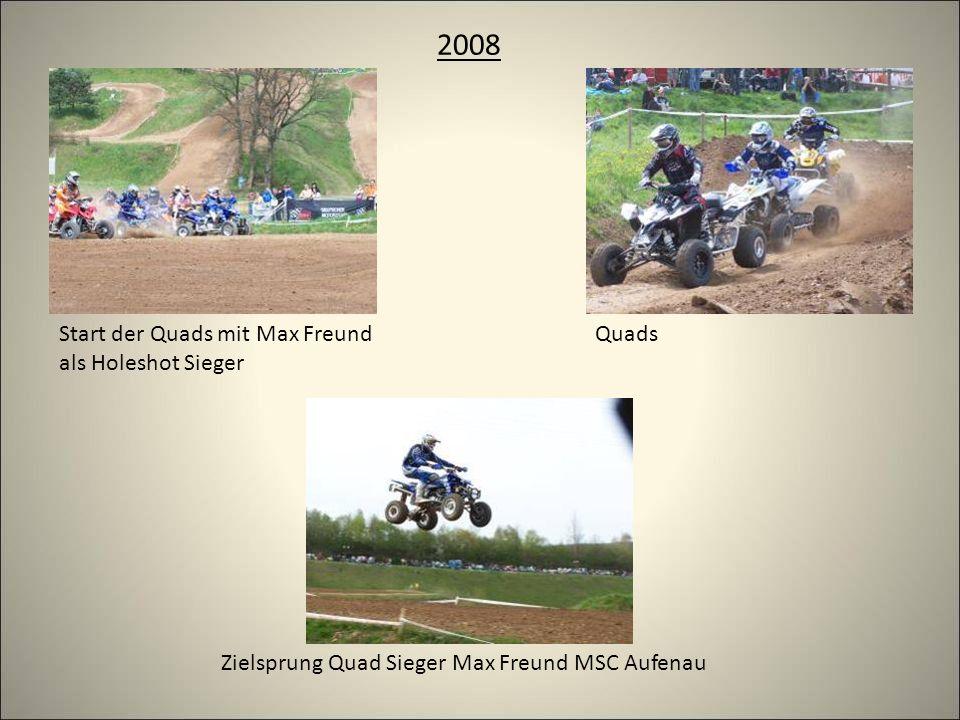 2008 Zielsprung Quad Sieger Max Freund MSC Aufenau QuadsStart der Quads mit Max Freund als Holeshot Sieger