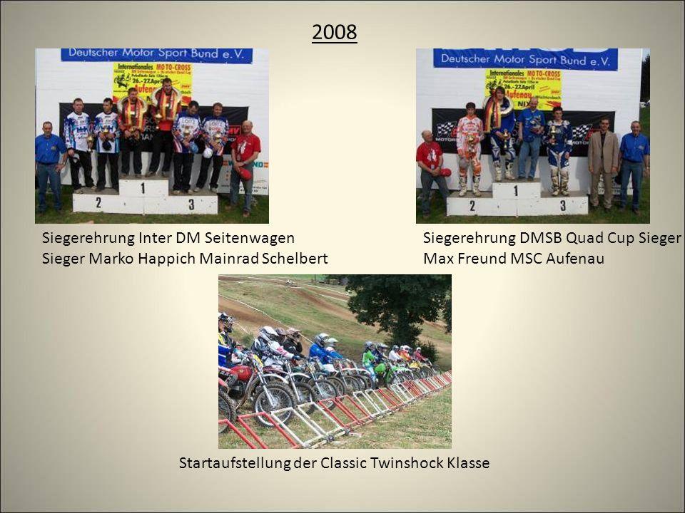 2008 Startaufstellung der Classic Twinshock Klasse Siegerehrung DMSB Quad Cup Sieger Max Freund MSC Aufenau Siegerehrung Inter DM Seitenwagen Sieger Marko Happich Mainrad Schelbert