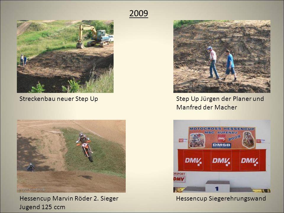 2009 Streckenbau neuer Step UpStep Up Jürgen der Planer und Manfred der Macher Hessencup SiegerehrungswandHessencup Marvin Röder 2.