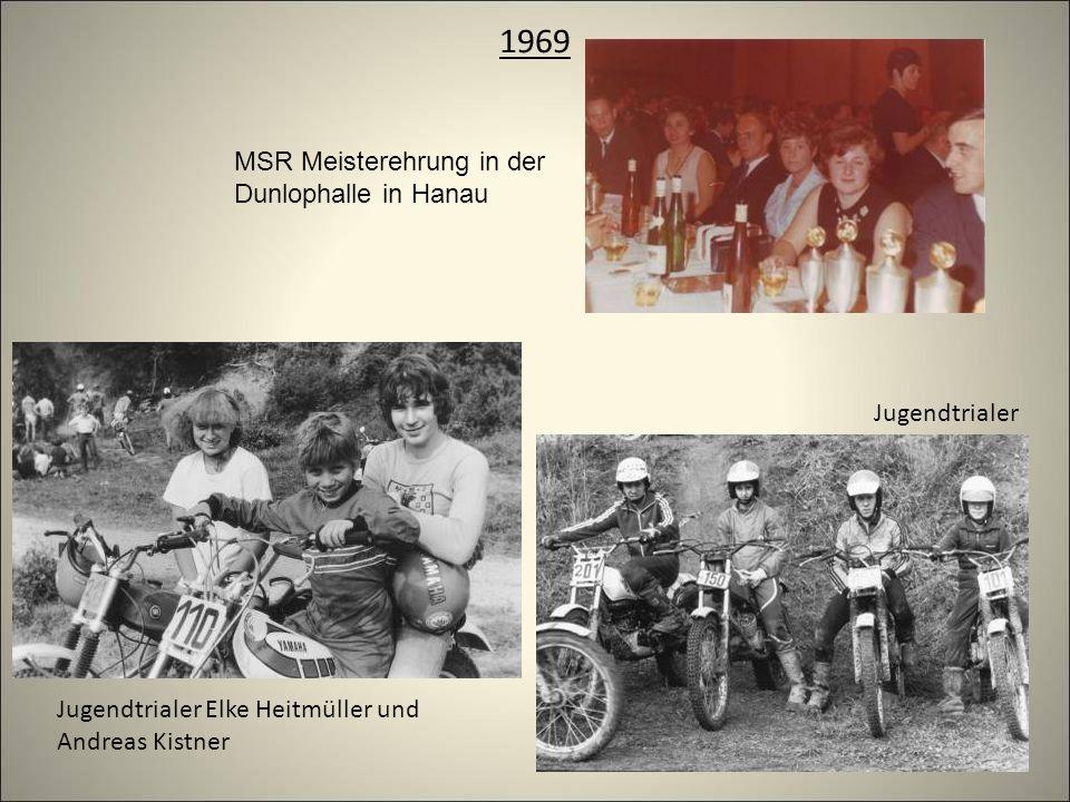 1969 Jugendtrialer Elke Heitmüller und Andreas Kistner Jugendtrialer MSR Meisterehrung in der Dunlophalle in Hanau