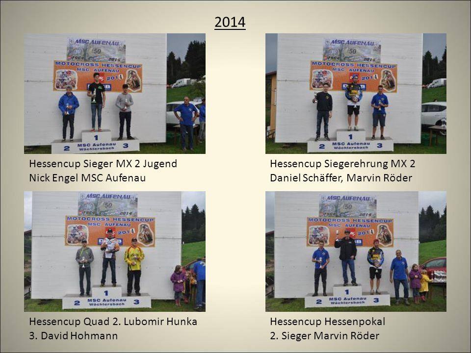2014 Hessencup Sieger MX 2 Jugend Nick Engel MSC Aufenau Hessencup Siegerehrung MX 2 Daniel Schäffer, Marvin Röder Hessencup Quad 2.