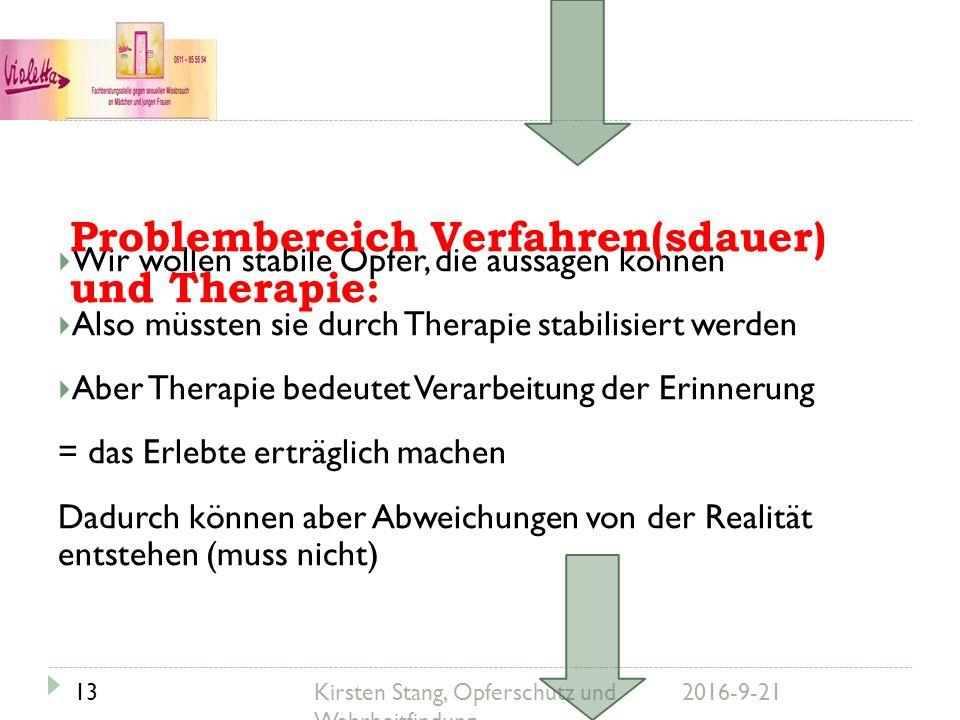 Wir wollen stabile Opfer, die aussagen können  Also müssten sie durch Therapie stabilisiert werden  Aber Therapie bedeutet Verarbeitung der Erinne