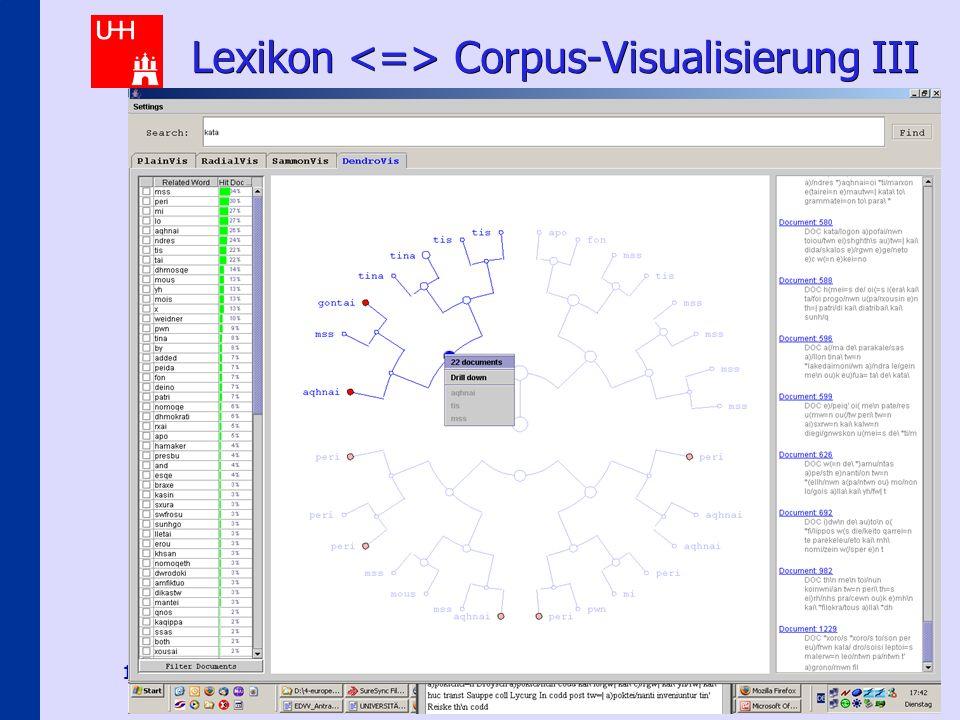 Hermeneutical E-Science Scenarios 16 Lexikon Corpus-Visualisierung III