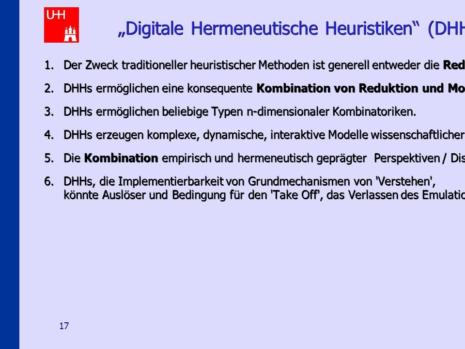 """Hermeneutical E-Science Scenarios 17 """"Digitale Hermeneutische Heuristiken (DHH) – 6 Thesen 1.Der Zweck traditioneller heuristischer Methoden ist generell entweder die Reduktion oder die Modellierung von Komplexität."""