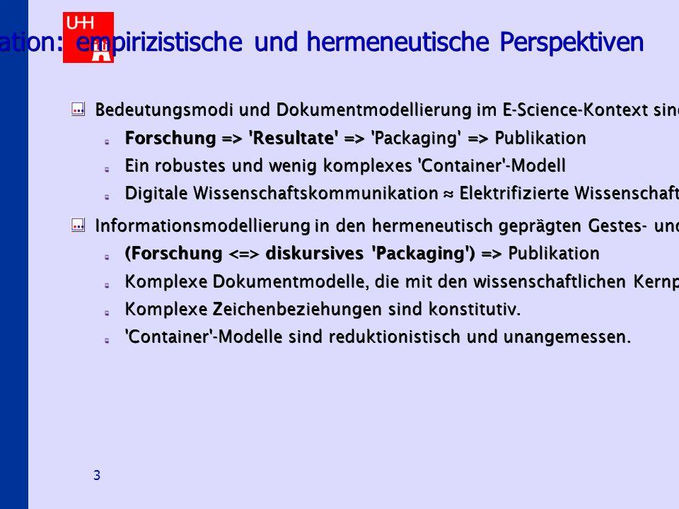 Digitale Hermeneutische Heuristiken 3 Semiologie von Wissenschafts-kommunikation: empirizistische und hermeneutische Perspektiven Bedeutungsmodi und Dokumentmodellierung im E-Science-Kontext sind bislang vorrangig geprägt durch das in den empirischen Wissenschaften dominante Informationsmodell: Forschung => Resultate => Packaging => Publikation Ein robustes und wenig komplexes Container -Modell Digitale Wissenschaftskommunikation ≈ Elektrifizierte Wissenschaftskommunikation Informationsmodellierung in den hermeneutisch geprägten Gestes- und Sozialwissenschaften findet in einem substantiell anderen Bedeutungsmodus statt: (Forschung diskursives Packaging ) => Publikation Komplexe Dokumentmodelle, die mit den wissenschaftlichen Kernprozessen eng verwoben sind Komplexe Zeichenbeziehungen sind konstitutiv.