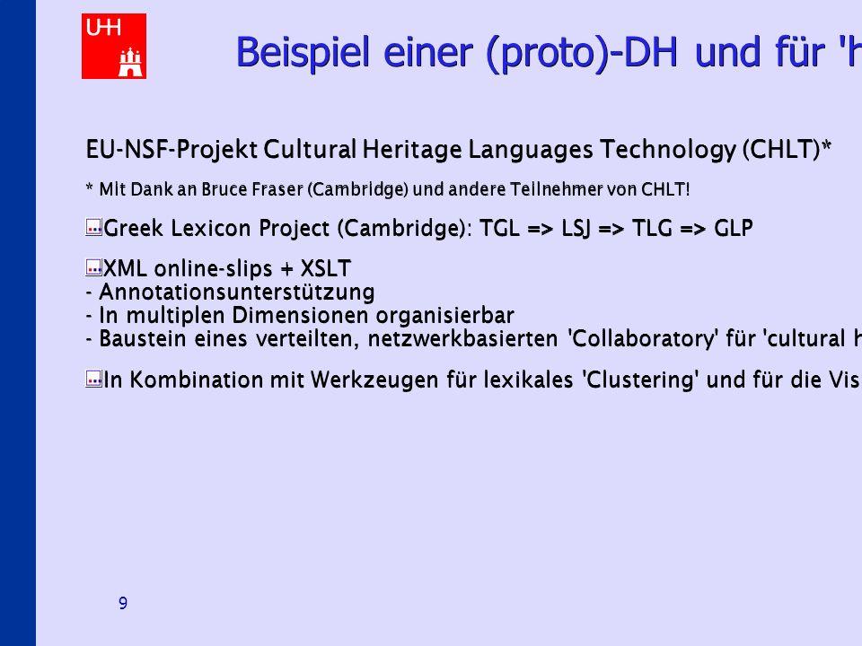 Hermeneutical E-Science Scenarios 9 Beispiel einer (proto)-DH und für hermeneutische Modellierung EU-NSF-Projekt Cultural Heritage Languages Technology (CHLT)* * Mit Dank an Bruce Fraser (Cambridge) und andere Teilnehmer von CHLT.