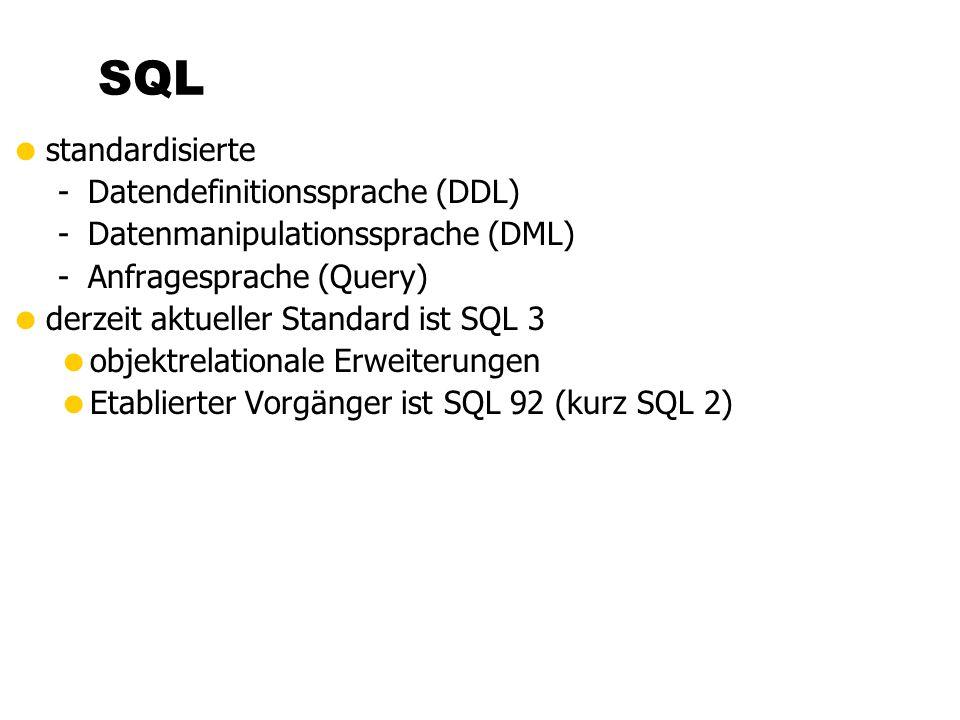  standardisierte -Datendefinitionssprache (DDL) -Datenmanipulationssprache (DML) -Anfragesprache (Query)  derzeit aktueller Standard ist SQL 3  objektrelationale Erweiterungen  Etablierter Vorgänger ist SQL 92 (kurz SQL 2) SQL