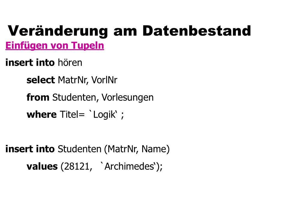 "Lesen der Namen aller Profs Statement s = conn.createStatement(); ResultSet r; s.execute(""SELECT name FROM professoren ); r = s.getResultSet(); while (r.next()) { output(r.getString(1)); } r.close();"
