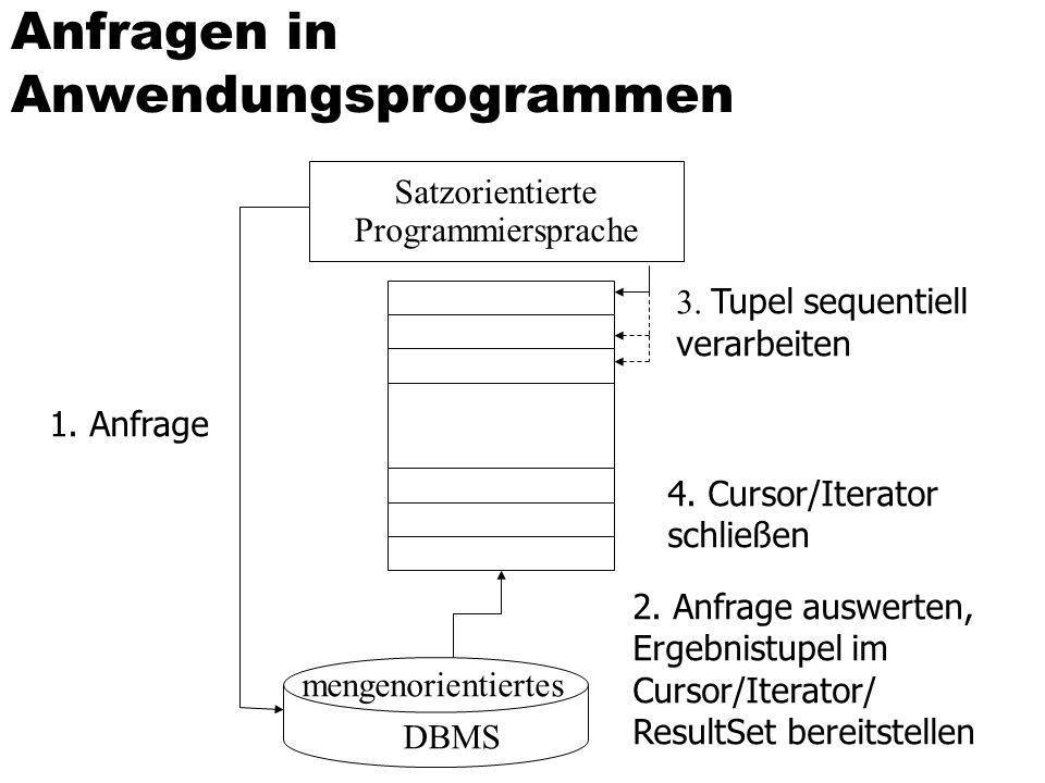 Anfragen in Anwendungsprogrammen Satzorientierte Programmiersprache mengenorientiertes DBMS 1.
