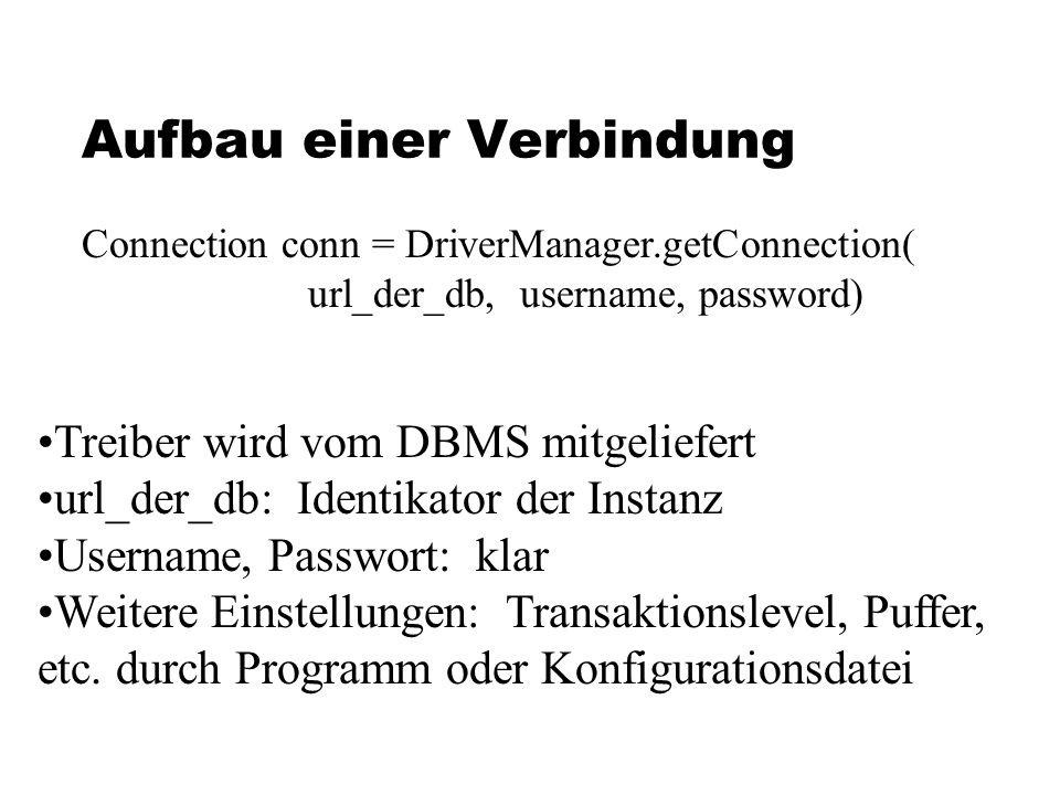 Aufbau einer Verbindung Connection conn = DriverManager.getConnection( url_der_db, username, password) Treiber wird vom DBMS mitgeliefert url_der_db: Identikator der Instanz Username, Passwort: klar Weitere Einstellungen: Transaktionslevel, Puffer, etc.
