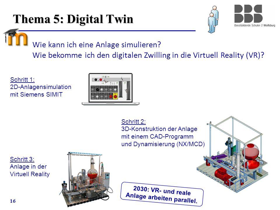 16 Thema 5: Digital Twin Schritt 1: 2D-Anlagensimulation mit Siemens SIMIT Schritt 3: Anlage in der Virtuell Reality Schritt 2: 3D-Konstruktion der An