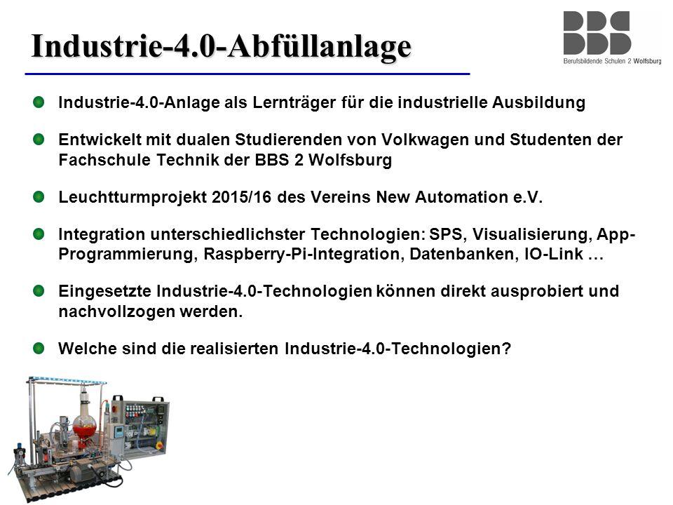2 Industrie-4.0-Abfüllanlage Industrie-4.0-Anlage als Lernträger für die industrielle Ausbildung Entwickelt mit dualen Studierenden von Volkwagen und