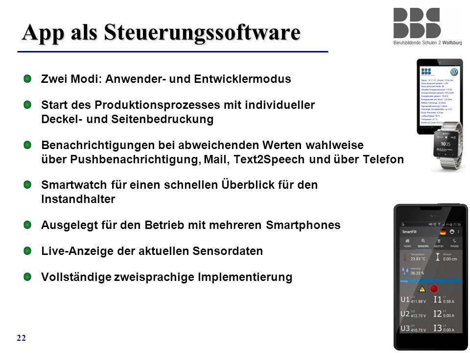 22 App als Steuerungssoftware Zwei Modi: Anwender- und Entwicklermodus Start des Produktionsprozesses mit individueller Deckel- und Seitenbedruckung B