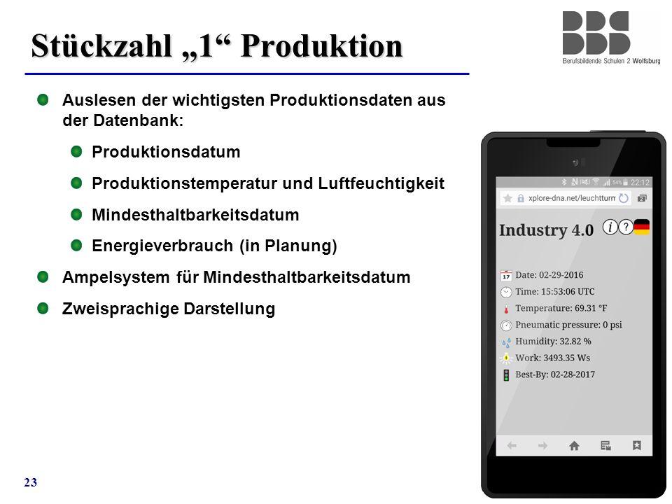 """23 Stückzahl """"1"""" Produktion Auslesen der wichtigsten Produktionsdaten aus der Datenbank: Produktionsdatum Produktionstemperatur und Luftfeuchtigkeit M"""