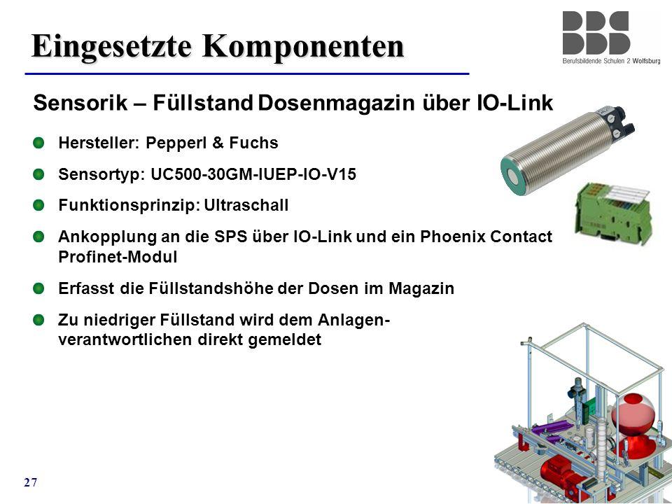 27 Eingesetzte Komponenten Sensorik – Füllstand Dosenmagazin über IO-Link Hersteller: Pepperl & Fuchs Sensortyp: UC500-30GM-IUEP-IO-V15 Funktionsprinz