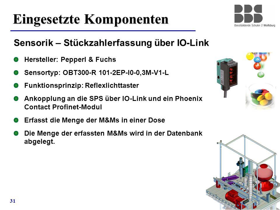 31 Eingesetzte Komponenten Sensorik – Stückzahlerfassung über IO-Link Hersteller: Pepperl & Fuchs Sensortyp: OBT300-R 101-2EP-I0-0,3M-V1-L Funktionspr