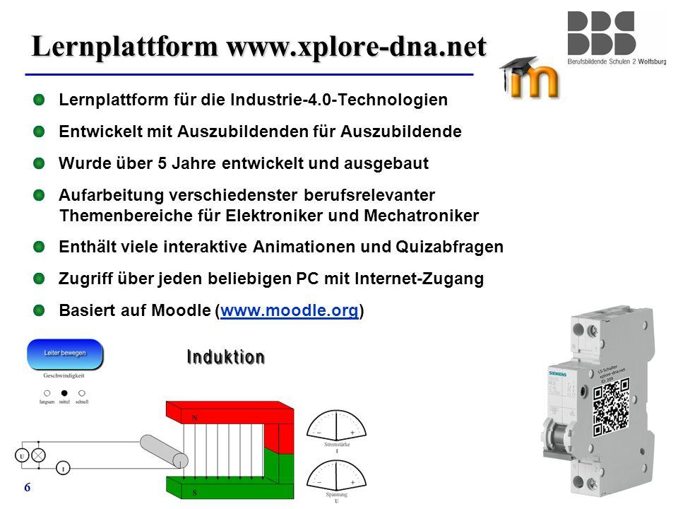 6 Lernplattform www.xplore-dna.net Lernplattform für die Industrie-4.0-Technologien Entwickelt mit Auszubildenden für Auszubildende Wurde über 5 Jahre