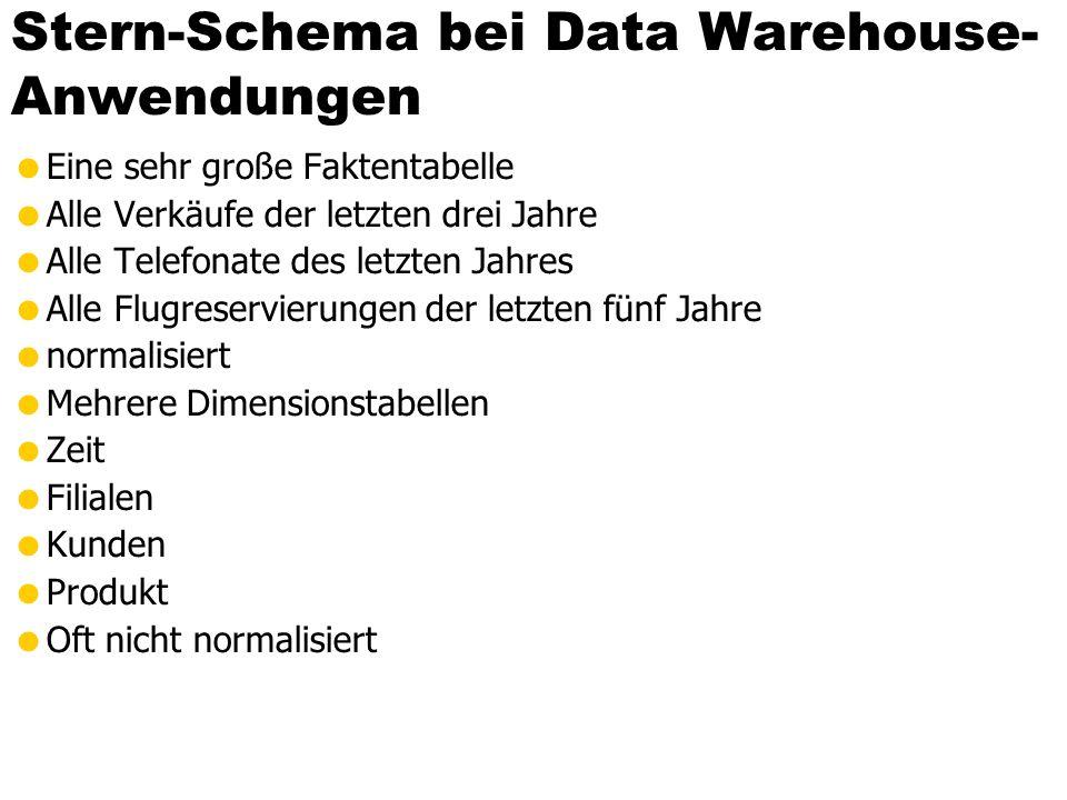 Stern-Schema bei Data Warehouse- Anwendungen  Eine sehr große Faktentabelle  Alle Verkäufe der letzten drei Jahre  Alle Telefonate des letzten Jahr