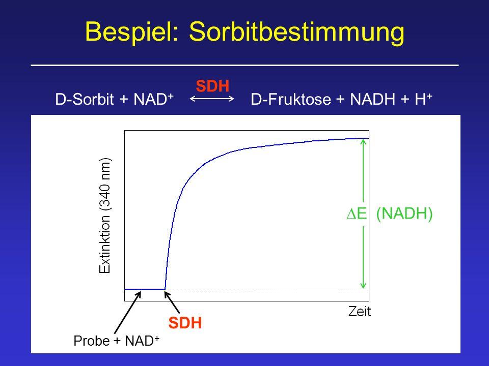 Bespiel: Sorbitbestimmung D-Sorbit + NAD + D-Fruktose + NADH + H + SDH Probe + NAD + SDH  E (NADH)
