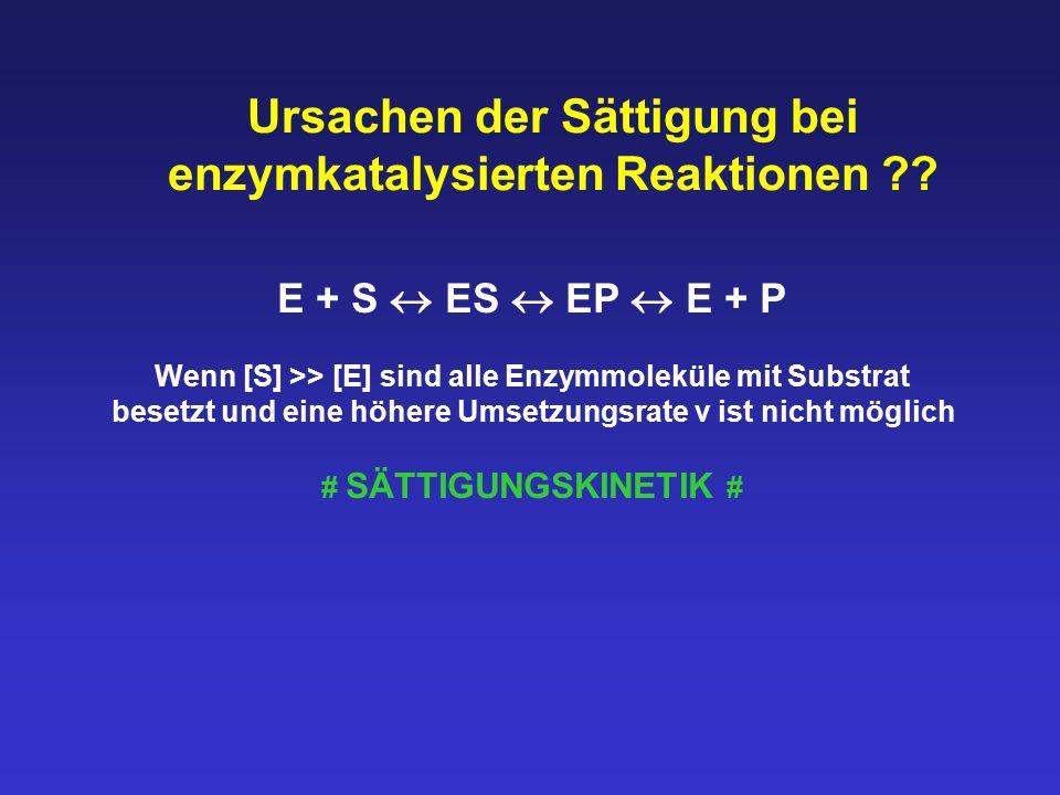 Ursachen der Sättigung bei enzymkatalysierten Reaktionen ?? E + S  ES  EP  E + P Wenn [S] >> [E] sind alle Enzymmoleküle mit Substrat besetzt und e