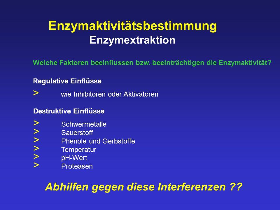 Enzymaktivitätsbestimmung Enzymextraktion Welche Faktoren beeinflussen bzw. beeinträchtigen die Enzymaktivität? Abhilfen gegen diese Interferenzen ??