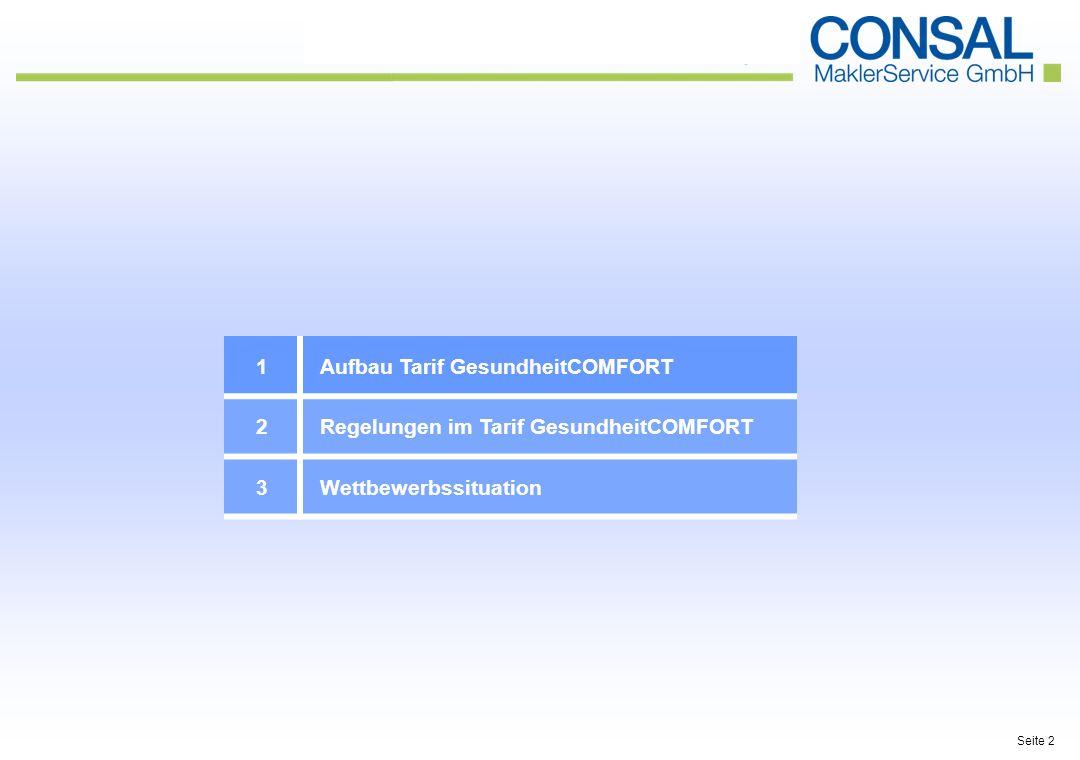 1Aufbau Tarif GesundheitCOMFORT 2Regelungen im Tarif GesundheitCOMFORT 3Wettbewerbssituation Seite 2