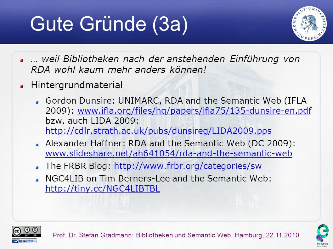 Prof. Dr. Stefan Gradmann: Bibliotheken und Semantic Web, Hamburg, 22.11.2010 Gute Gründe (3a) … weil Bibliotheken nach der anstehenden Einführung von