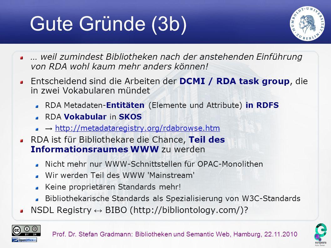 Prof. Dr. Stefan Gradmann: Bibliotheken und Semantic Web, Hamburg, 22.11.2010 Gute Gründe (3b) … weil zumindest Bibliotheken nach der anstehenden Einf