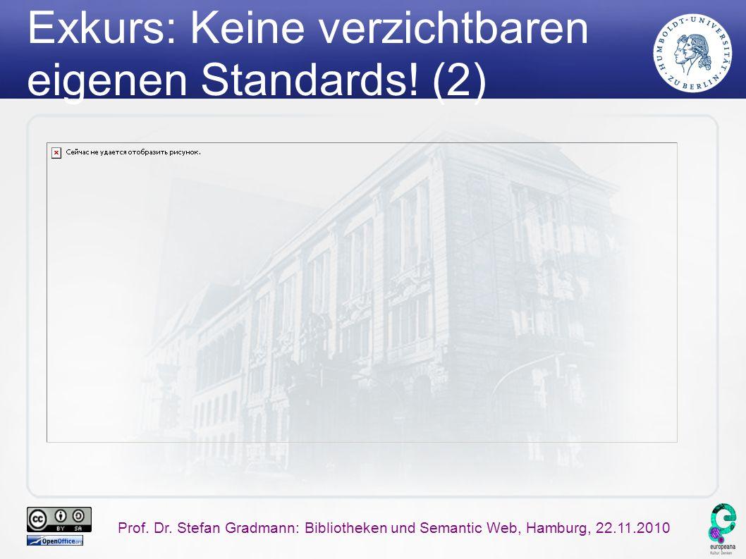 Prof. Dr. Stefan Gradmann: Bibliotheken und Semantic Web, Hamburg, 22.11.2010 Exkurs: Keine verzichtbaren eigenen Standards! (2)