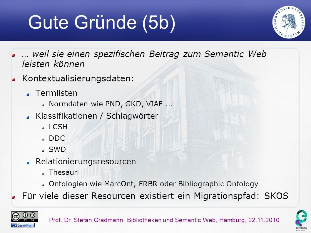 Prof. Dr. Stefan Gradmann: Bibliotheken und Semantic Web, Hamburg, 22.11.2010 Gute Gründe (5b) … weil sie einen spezifischen Beitrag zum Semantic Web