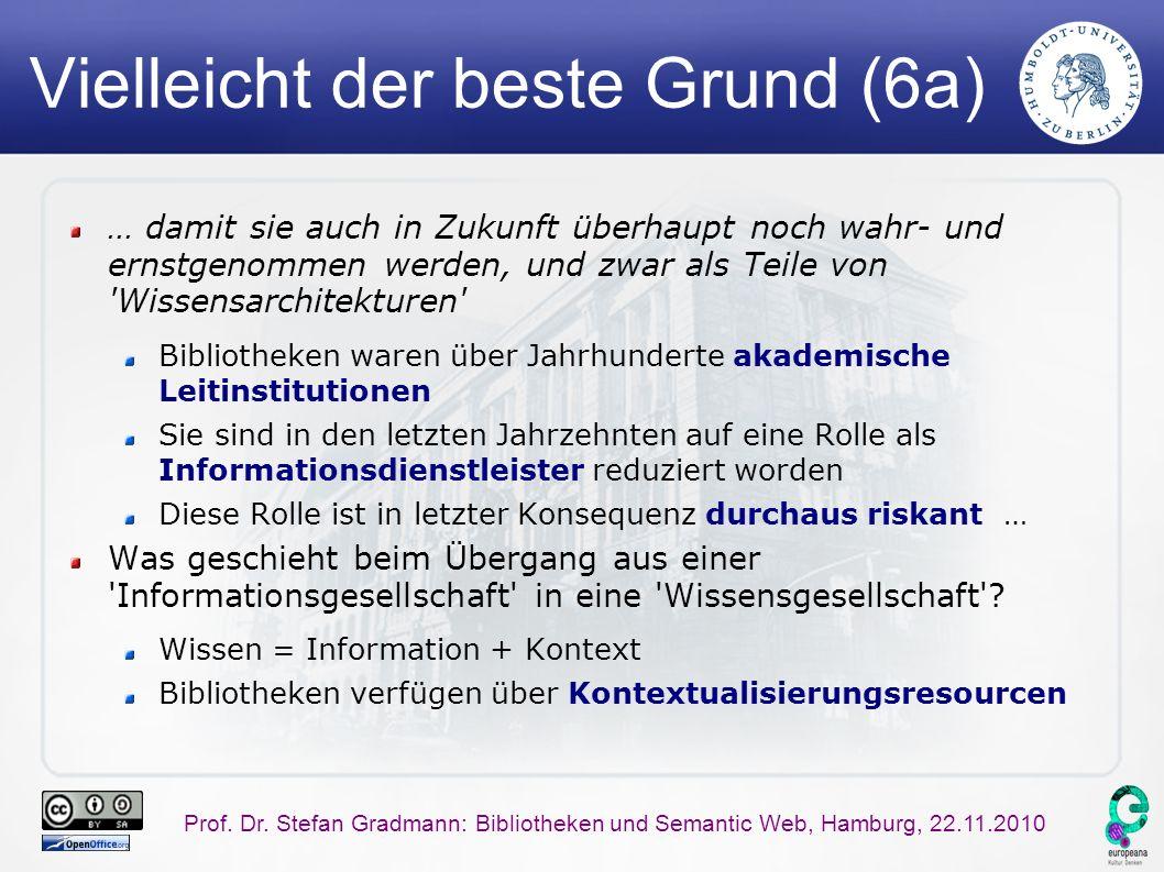 Prof. Dr. Stefan Gradmann: Bibliotheken und Semantic Web, Hamburg, 22.11.2010 Vielleicht der beste Grund (6a) … damit sie auch in Zukunft überhaupt no