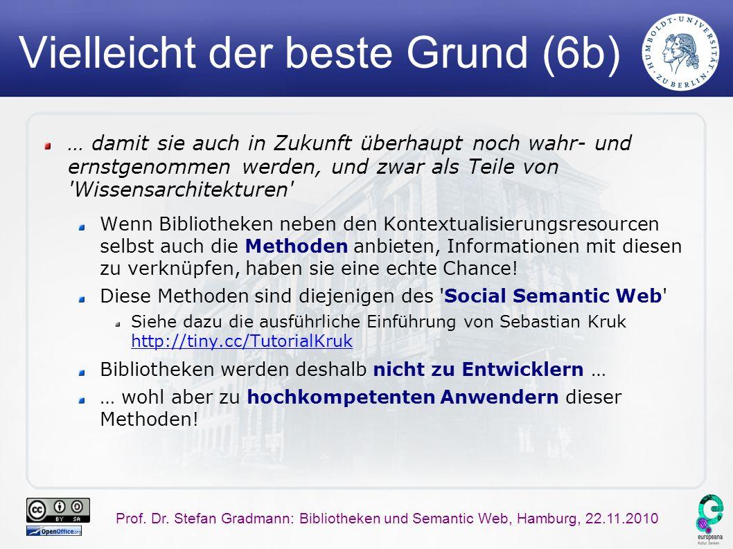 Prof. Dr. Stefan Gradmann: Bibliotheken und Semantic Web, Hamburg, 22.11.2010 Vielleicht der beste Grund (6b) … damit sie auch in Zukunft überhaupt no