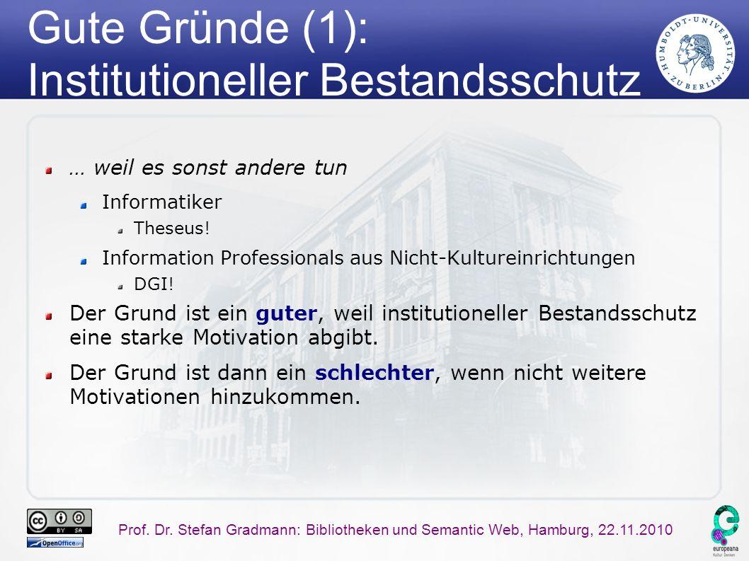 Prof. Dr. Stefan Gradmann: Bibliotheken und Semantic Web, Hamburg, 22.11.2010 Gute Gründe (1): Institutioneller Bestandsschutz … weil es sonst andere