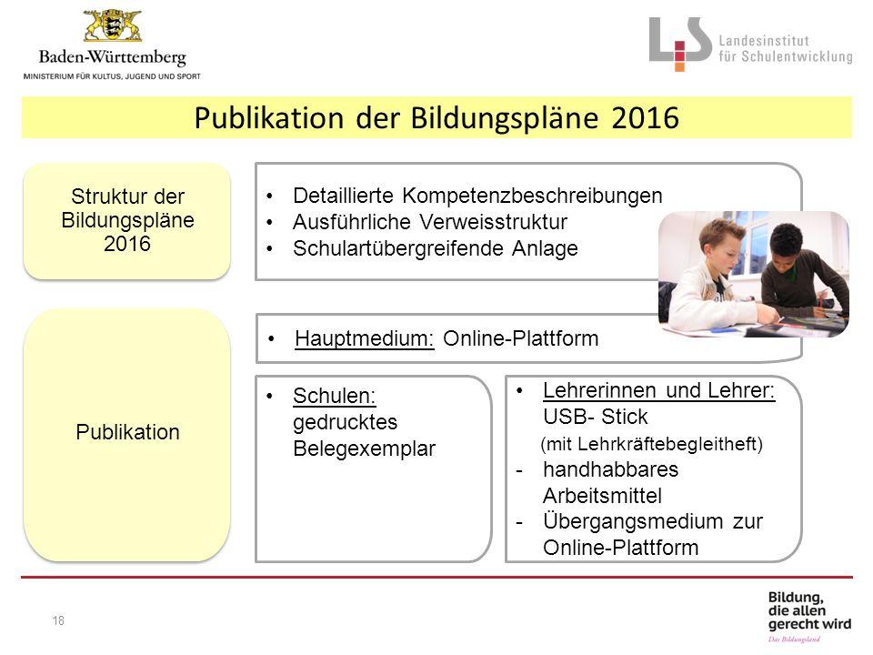 Detaillierte Kompetenzbeschreibungen Ausführliche Verweisstruktur Schulartübergreifende Anlage Struktur der Bildungspläne 2016 Schulen: gedrucktes Bel